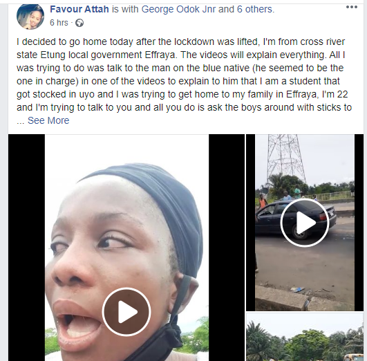 UNIUYO student cries out after allegedly being flogged at interstate border (video)
