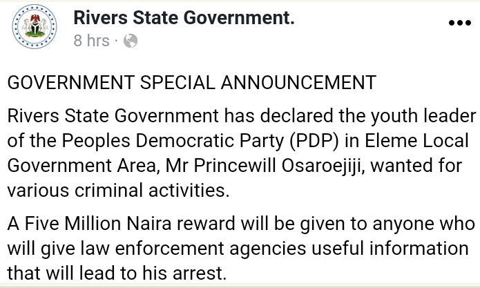 Rivers State government declares PDP youth leader wanted over alleged criminal activities, promises N5m reward to anyone with useful information