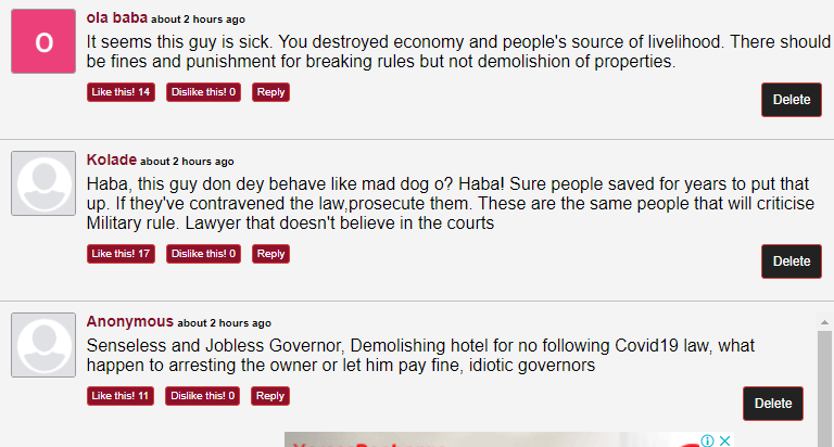 Nigerians react as Gov Nyesom Wike demolish two hotels for ...