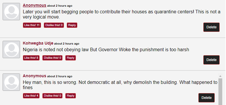 Nigerians react as Gov Nyesom Wike demolish two hotels for flouting lockdown order