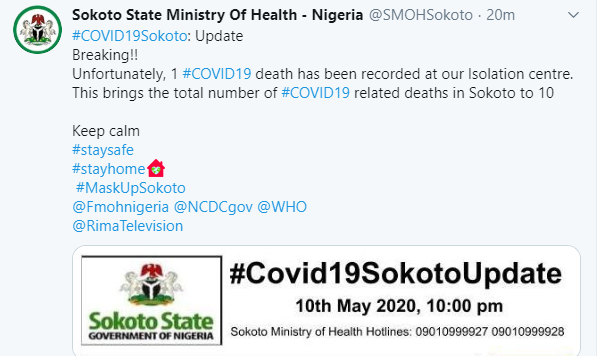 Sokoto state records 10th COVID-19 death