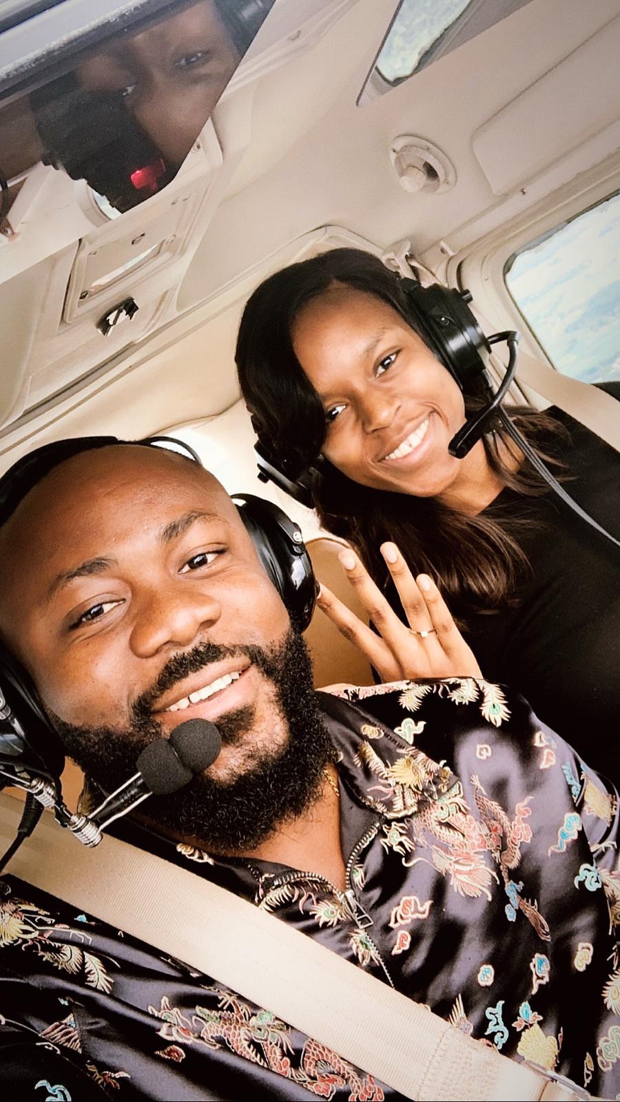 Nigerian Man Samuel Enyi aka DJ IREM$ becomes the first Black man to engage his fianc? on a single engine airplane