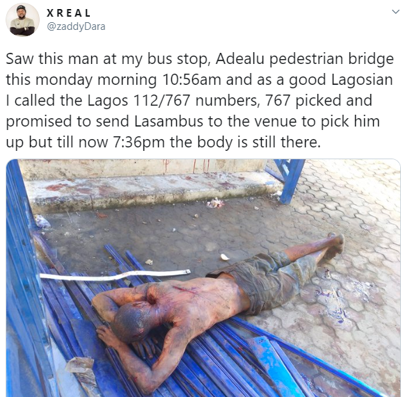 Twitter stories: Nigerian man dies in the middle of the road in Lagos after he was allegedly abandoned by emergency service hours after an SOS call was put through