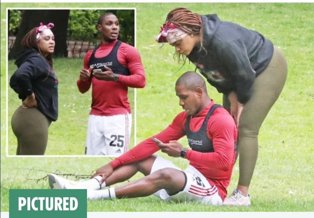 Manchester United striker,  Odion Ighalo trains with mystery female training partner in a public park  (Photos)