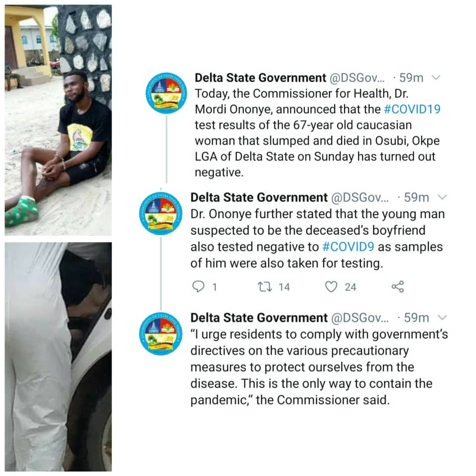 Update: Delta state govt rules out COVID-19 as cause of death of American woman who died in a hotel where she lodged with her Nigerian boyfriend
