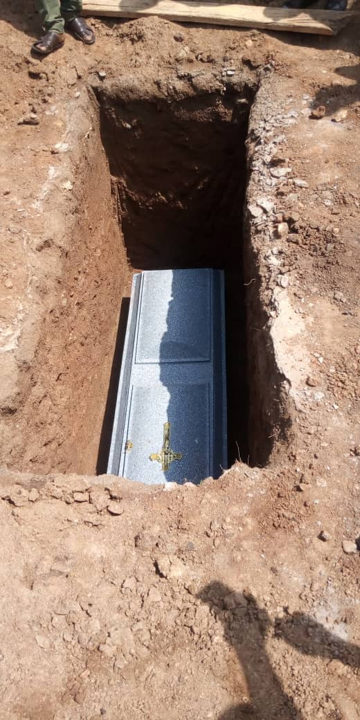 "Photos from the burial of popular Nigerian punter, Otunba, who died after tweeting ""I don"