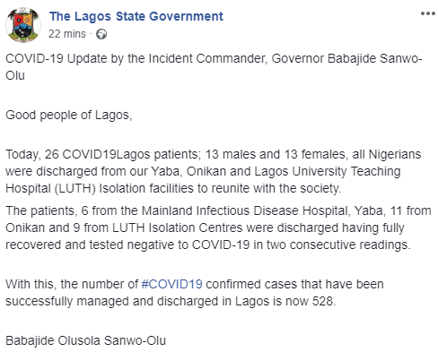 26 more COVID-19 patients discharged in Lagos