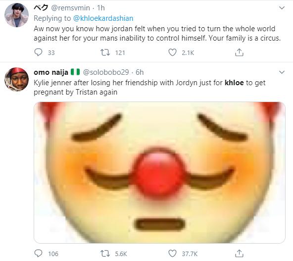 Khoe Kardashian reacts as she