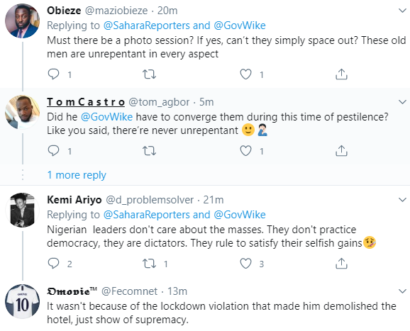 Twitter users react to new photos of PDP members violating social distancing order at their meeting days after Gov Wike demolished hotels