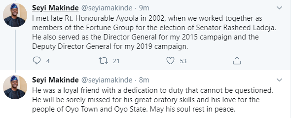 Oyo state Commissioner for Environment and Natural Resources, Kehinde Ayoola,  dies at 55