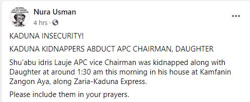 Kaduna APC vice chairman and daughter kidnapped