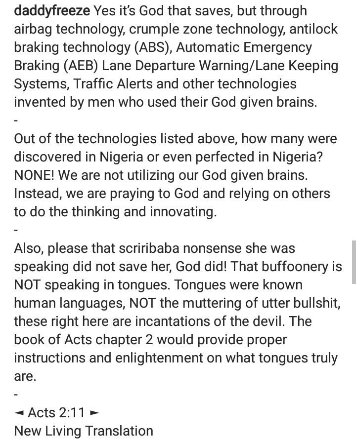 "Daddy Freeze clashes with his followers after saying woman who survived accident and broke into tongues was speaking ""the tongues of demons"""