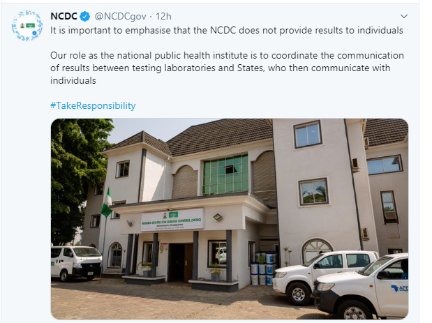 We send test results to states and not individuals - NCDC