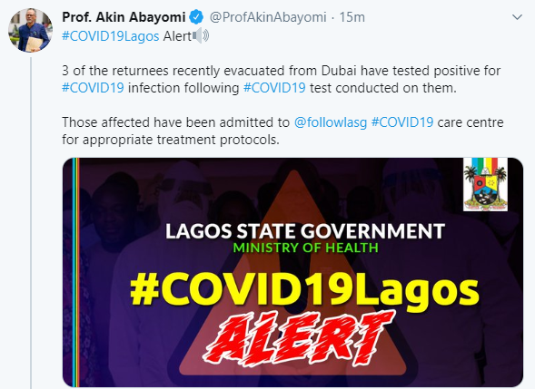 Three Nigerians recently evacuated from Dubai test positive for COVID-19