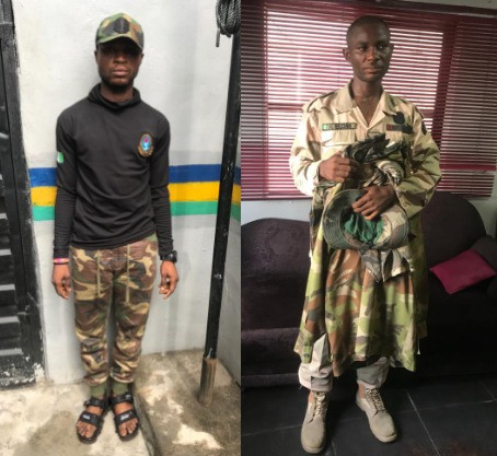 Two fake soldiers arrested over murder of Police Sergeant in Lagos (photos)