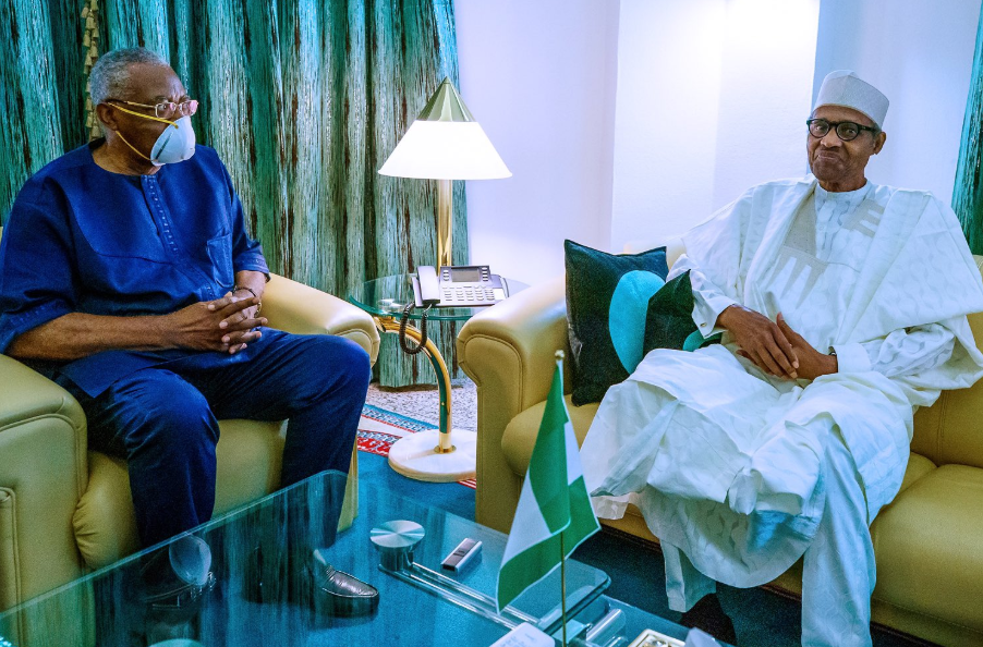 President Buhari receives T.Y Danjuma in the state house (photos)