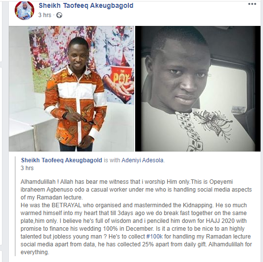 Popular Oyo Islamic cleric, Taofeeq Akeubagold shares photos of his worker who allegedly masterminded the kidnap of his twins