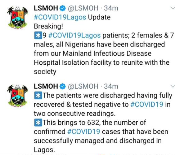 9 more COVID-19 patients discharged in Lagos