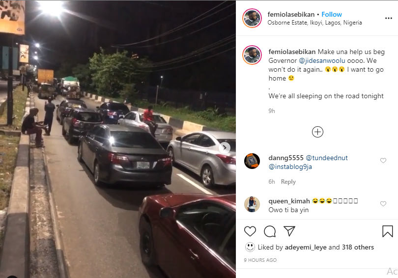 Motorists spend the night at Osborne Road in Ikoyi for violating curfew order in Lagos (videos)