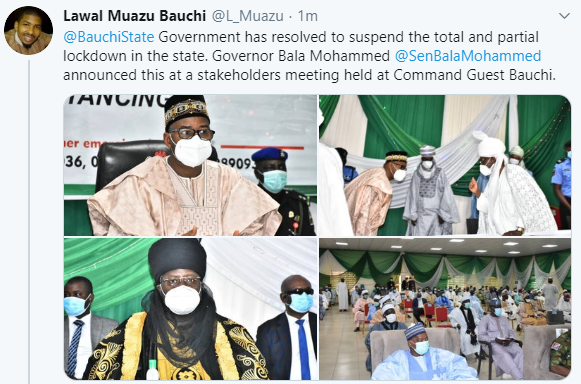 Bauchi state govt suspends lockdown imposed in the state, approves opening of worship centers