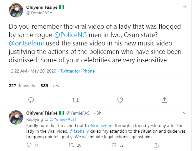 Oritsefemi accused of endorsing police brutality following use of a victim