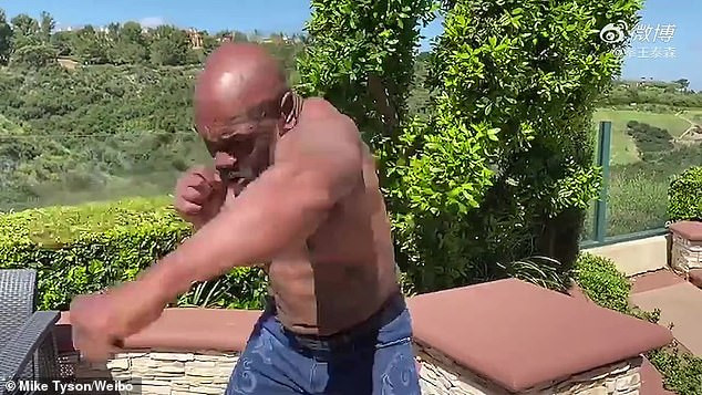 53 year old Mike Tyson shows off toned physique and abs while ...