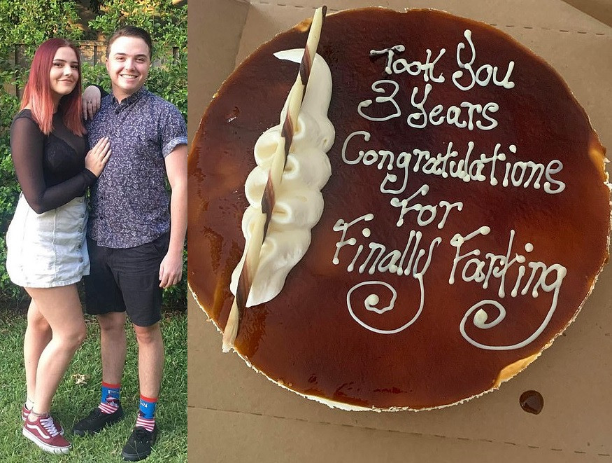 Man gets girlfriend of three-years congratulations cake after she finally farts in front of him ...lol  (photos)