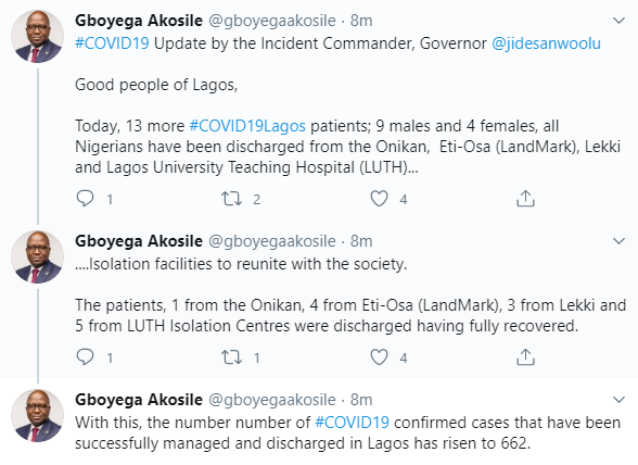 13 more COVID19 patients discharged in Lagos