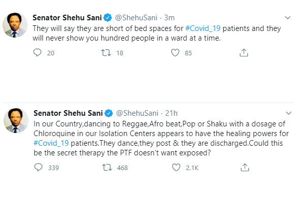 Senator Shehu Sani shares tweets questioning the authenticity of COVID-19 claims made by the NCDC