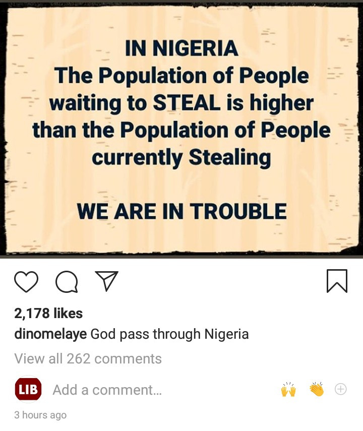 "Dino Melaye worries about the future of Nigeria as he says ""the population of people waiting to steal is higher than those currently stealing"""
