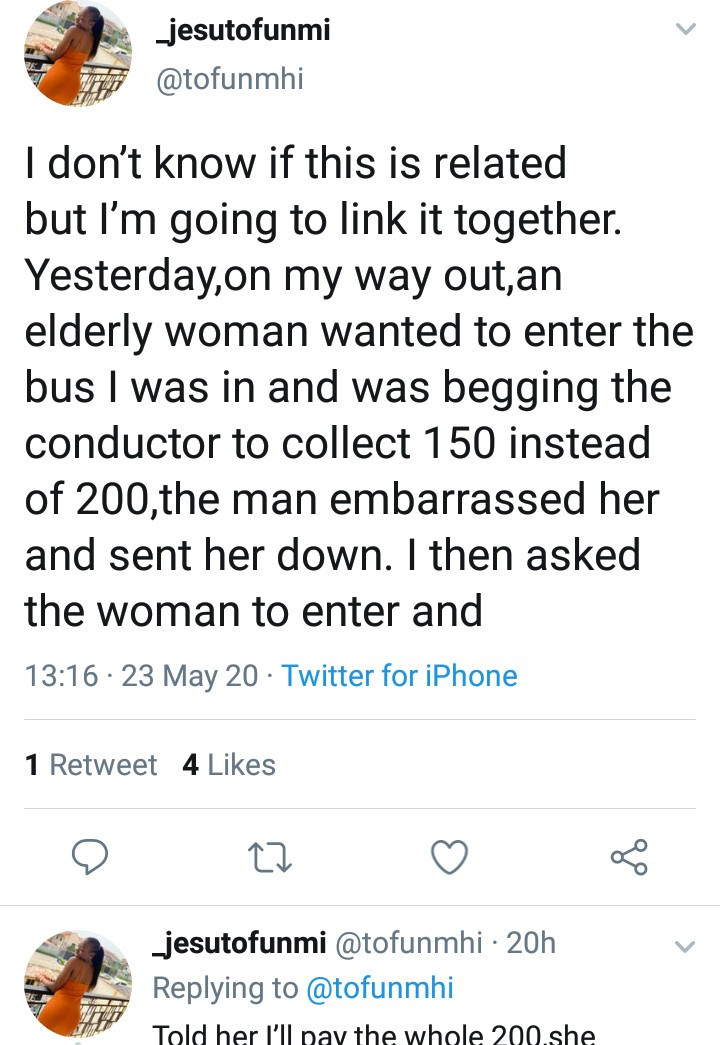 Woman narrates how she got 20k from a stranger after she helped a needy woman with 200 Naira