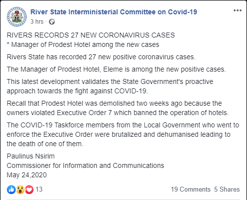Manager of demolished hotel among 27 new cases of Coronavirus  ? Rivers government