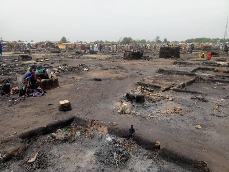One killed as fire razes IDP camp in Borno (photos)