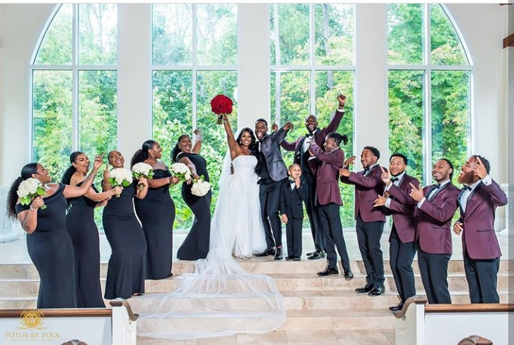 Couple who met at a wedding after the man caught the garter and the woman caught the bouquet get married to each other