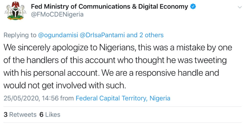 FMOCDE?s Twitter page handler apologizes after mistakenly using the official Twitter account to share an inappropriate tweet