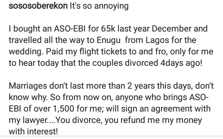 """You divorce, you refund me my money with interest"" - Soso Soberekon reveals his plan for intending couples who expect him to buy expensive asoebi"