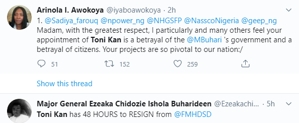 APC members protest as Minister of Humanitarian Affairs allegedly appoints writer, Toni Kan, as her media aide