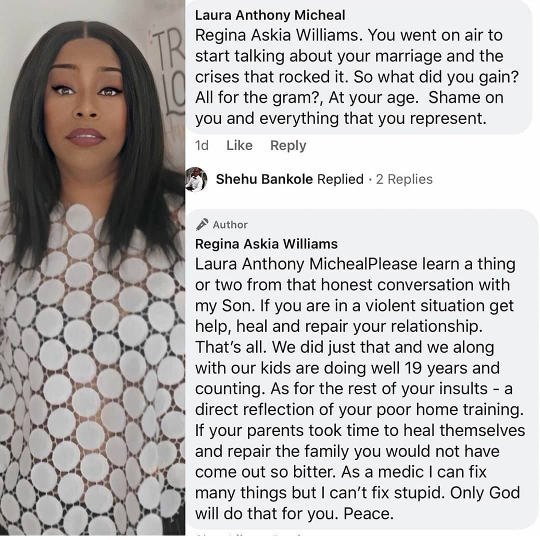 Regina Askia replies lady who shamed her for speaking about her marital issues on social media