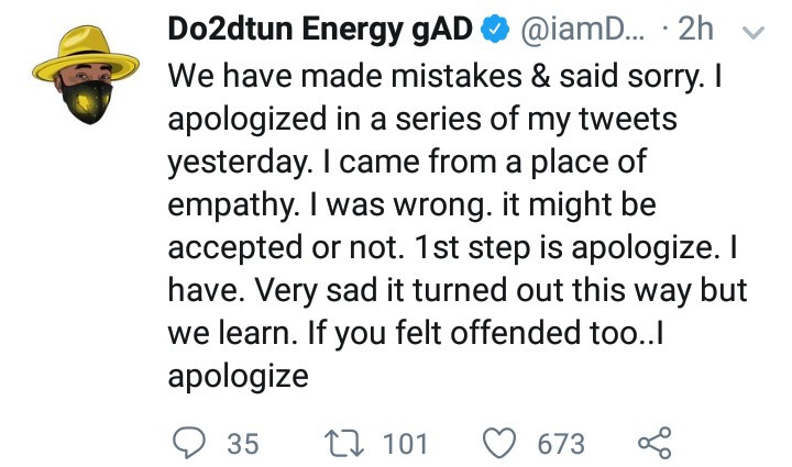 OAP Dotun apologizes for his comments to Jude Okoye in reaction to Cynthia Morgan