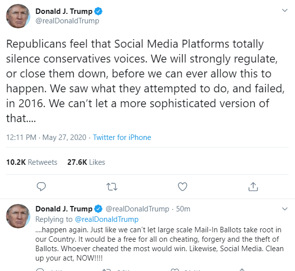Trump threatens to shut down social media platforms after Twitter put a warning on his tweet for the first time