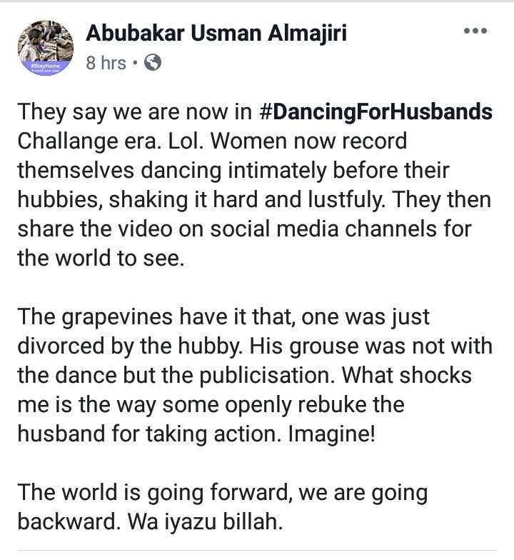 "Arewa husband allegedly divorces his only wife of 19 years after she engaged in the viral ""Dancing For Husbands"" challenge"