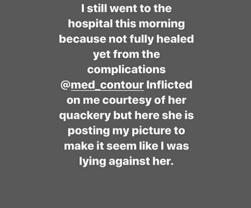 Omohtee calls out Med Contour for uploading her photo to wish her a happy birthday on their page after she was left fighting for her life in surgery gone wrong