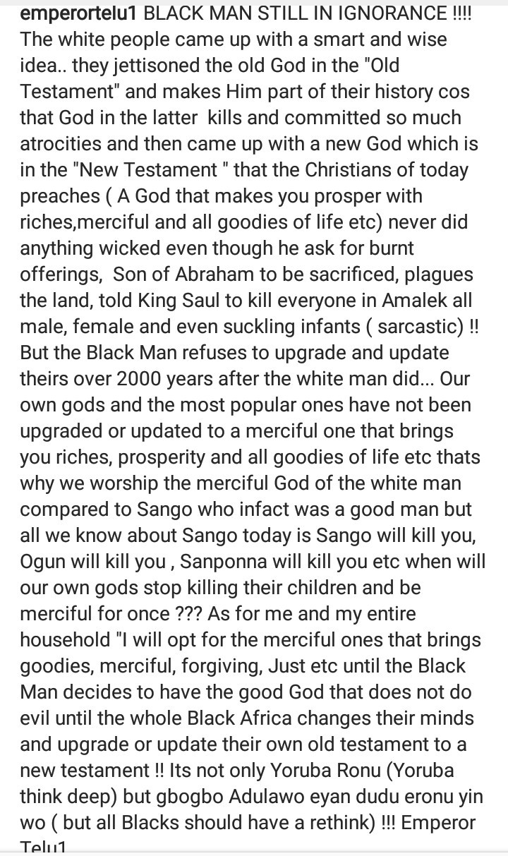 "Oluwo of Iwo condemns the ""ignorance"" that makes Black men worship the White man"