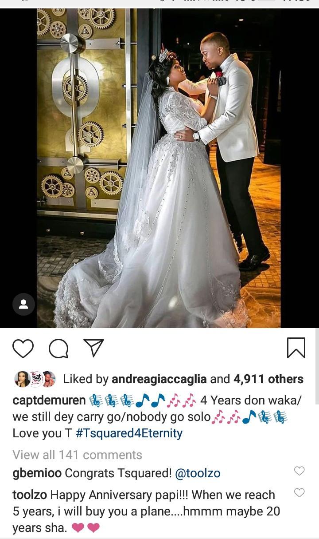 image result for Toolz Oniru Tunde Demuren mark 4th wedding anniversary