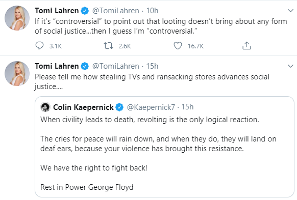 Cardi B slams American commentator Tomi Lahren for her tweets condemning looting and rioting during protests to demand justice for George Floyd