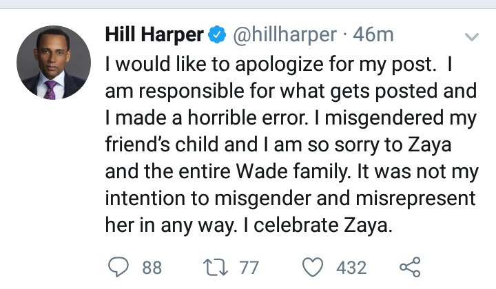 Actor Hill Harper apologizes after he was slammed for referring to Dwyane Wade