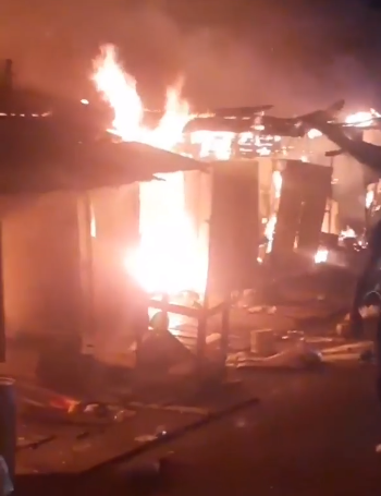 Goods worth millions of Naira destroyed as fire guts Olaleye market in Lagos (videos)