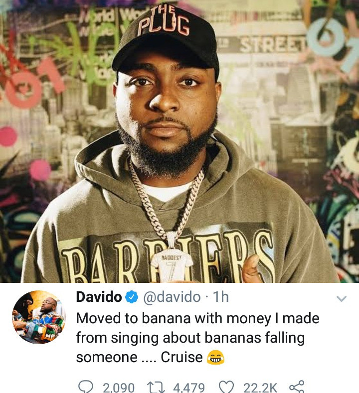 """I moved to banana with money I made from singing about bananas falling on someone"" Davido says after he got a house in Banana Island"