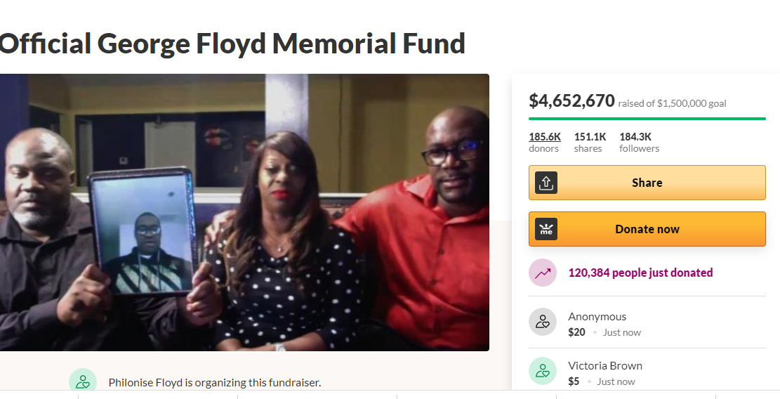GoFundMe created for the memorial fund of George Floyd has now raised over $4.6 million in just three days