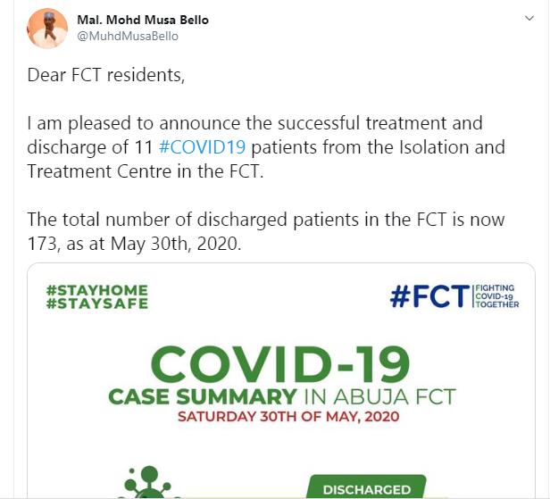 11 Coronavirus patient discharged in FCT